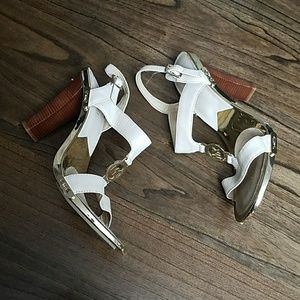 Shoes - Michael Kors T-Strap Logo Gold Platform Sandals